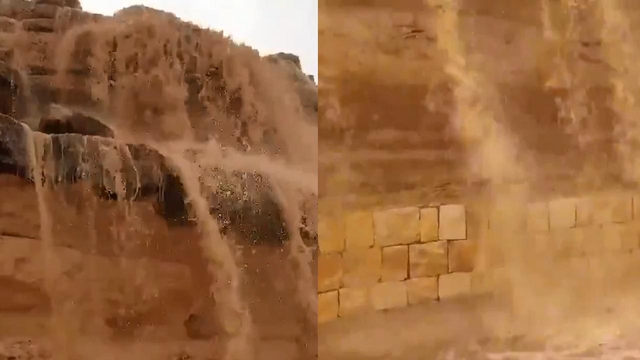 بالفيديو.. شلالات الأمطار تتساقط في عشيرة سدير الآن