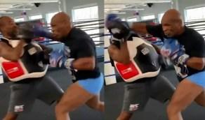 بالفيديو.. تايسون يكاد ان يخلع رأس مدربه خلال التدريبات