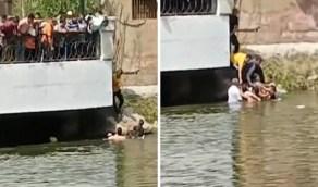 بالفيديو.. لحظة إنقاذ رجل شرطة لفتاة ألقت بنفسها في مياه النيل