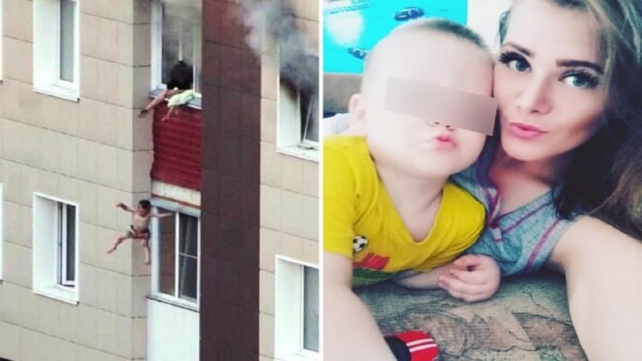 فيديو صادم لأم تلقي بطفليها من الطابق الثالث !