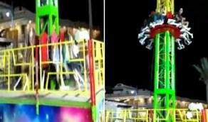 """بالفيديو.. انهيار مفاجئ للعبة """"الصاروخ"""" أثناء ركوب أطفال في مدينة ملاهي"""