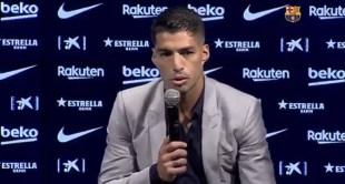 بالفيديو.. سواريز يبكي خلال إعلانه الرحيل عن برشلونة