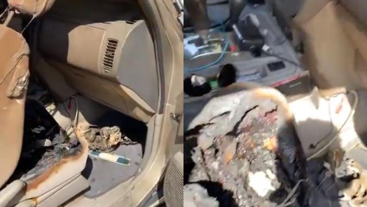 شاهد.. انفجار مروع داخل سيارة مواطن  بسبب بطارية هاتف