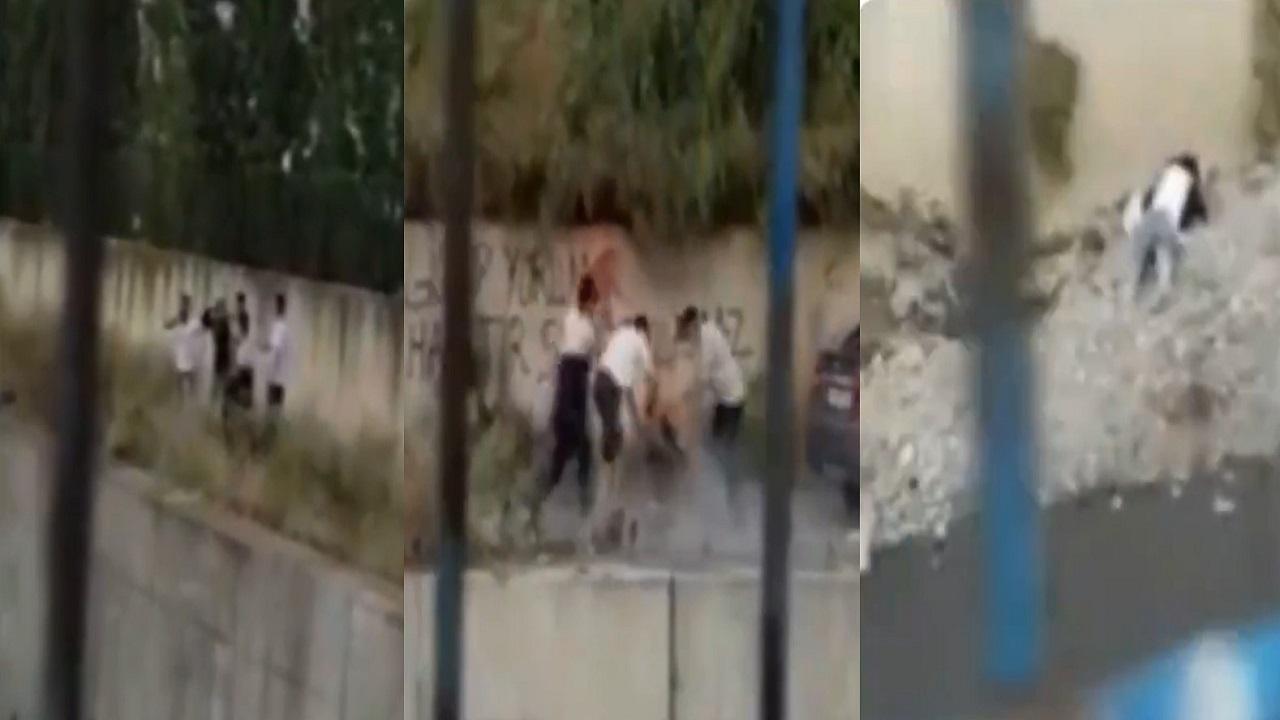 شاهد.. لحظة إلقاء 4 محتالين أتراك لشاب سوري من ارتفاع 7 متر