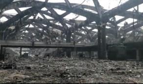 تركيب الرافعات لصيانة سقف محطة قطار الحرمين بحي السليمانية