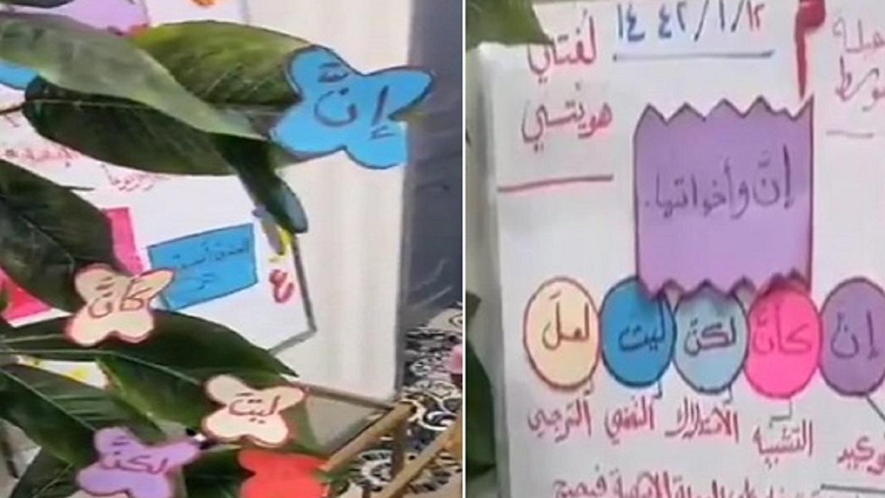 """بالفيديو.. معلمة تبدع في استخدام الوسائل التعليمية عبر منصة """"مدرستي"""" بـ عرعر"""