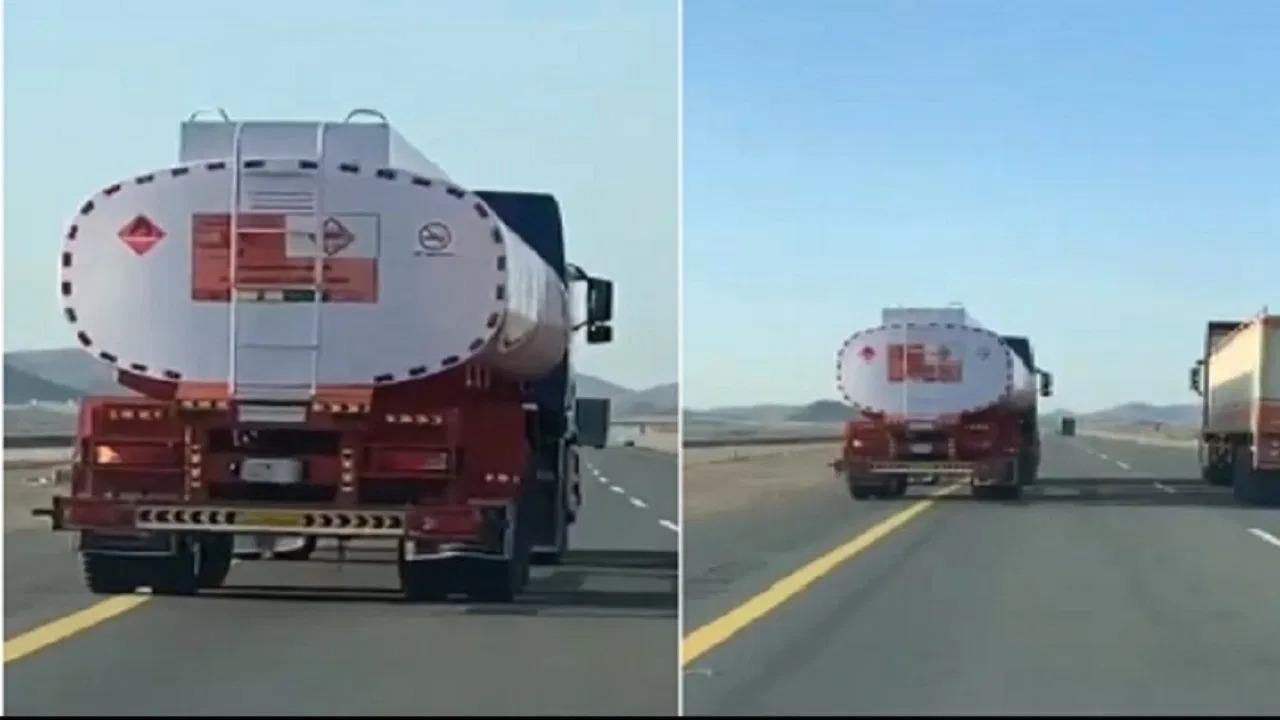ضبط سائق شاحنة صهريج البترول المتهور