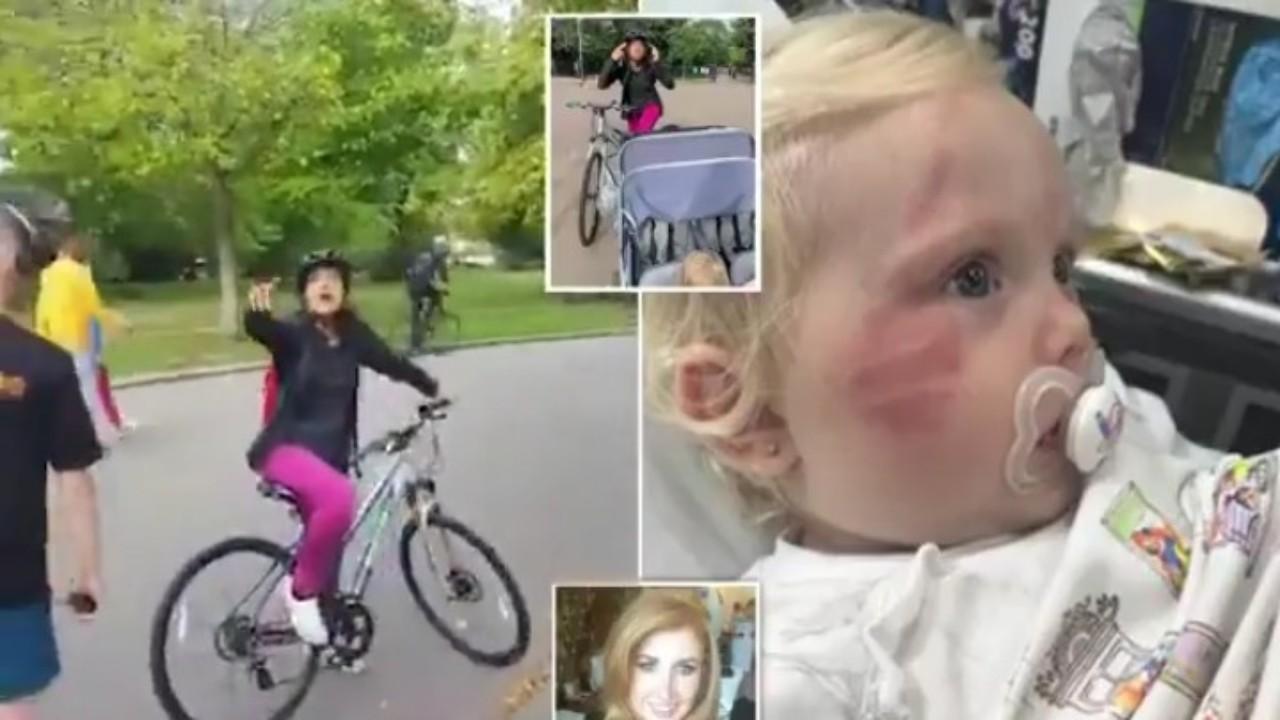 بالفيديو.. سيدة تصدم طفلة عمرها عاما وتسحلها بشكل عنيف بدراجتها