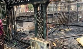 بالصور.. حريق هائل في السفارة السعودية بالسودان
