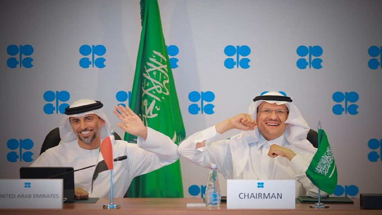 لقطة عفوية لوزير الطاقة الأمير عبدالعزيز بن سلمان ونظيره الإماراتي