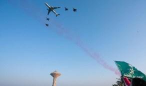 شاهد.. استعراض جوي رائع للطائرات العسكرية بسماء المملكة