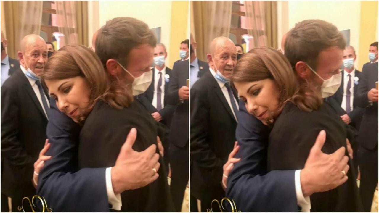سبب عناق ماجدة الرومي لماكرون خلال زيارته للبنان