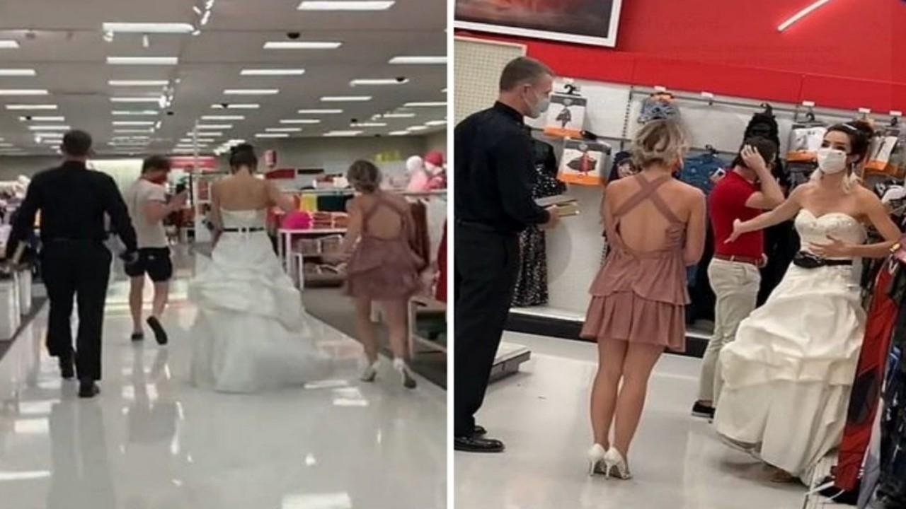بالفيديو والصور.. فتاة ترتدي فستان الزفاف وتفاجئ خطيبها في محل عمله بطلب الزواج