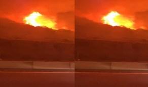 شاهد.. حرائق«جبل غلامة» الضخمة من زاوية جديدة عن قُرب