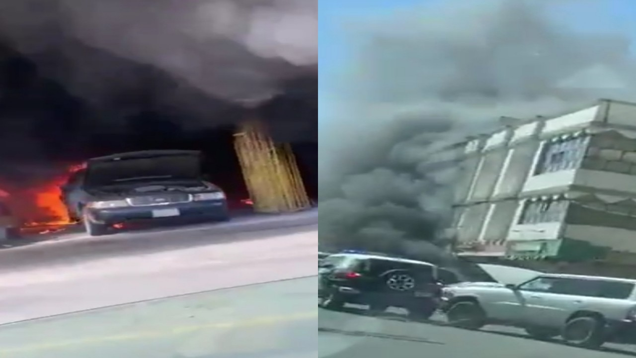 بالفيديو.. اندلاع حريق كبير في إحدى ورش الباحة