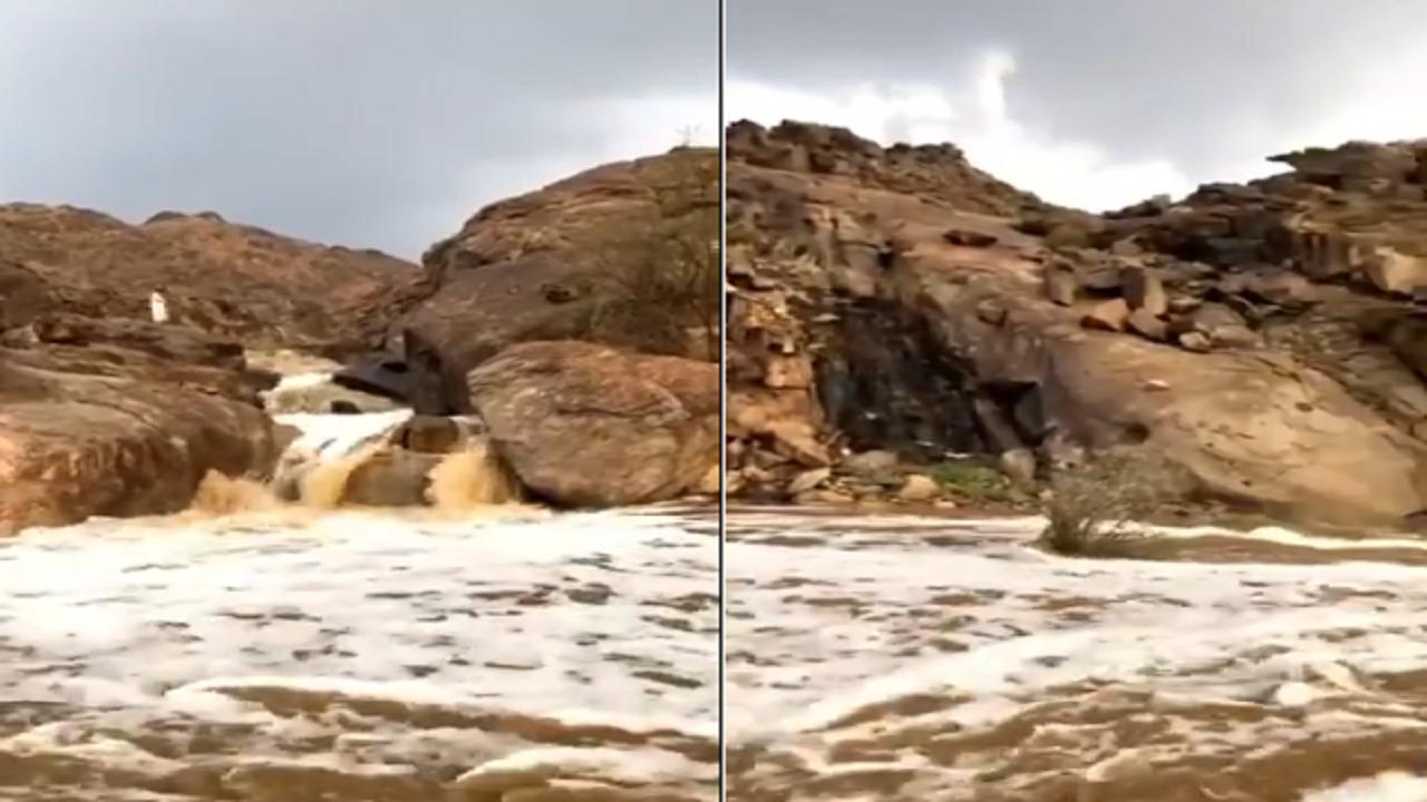 بالفيديو .. منظر خلاب لشلالات المسيجيد بغرب المدينة المنورة