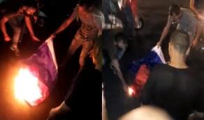 بالفيديو..لبنانيون يحرقون العلم الفرنسي