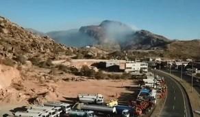 بالفيديو.. كشف آخر تطورات حريق تنومة