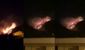 بالفيديو.. اندلاع حريق كبير في سودة عسير