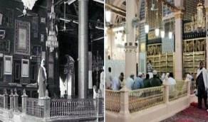 """""""دكة الأغوات"""" في المسجد النبوي لزمنين متباعدين"""