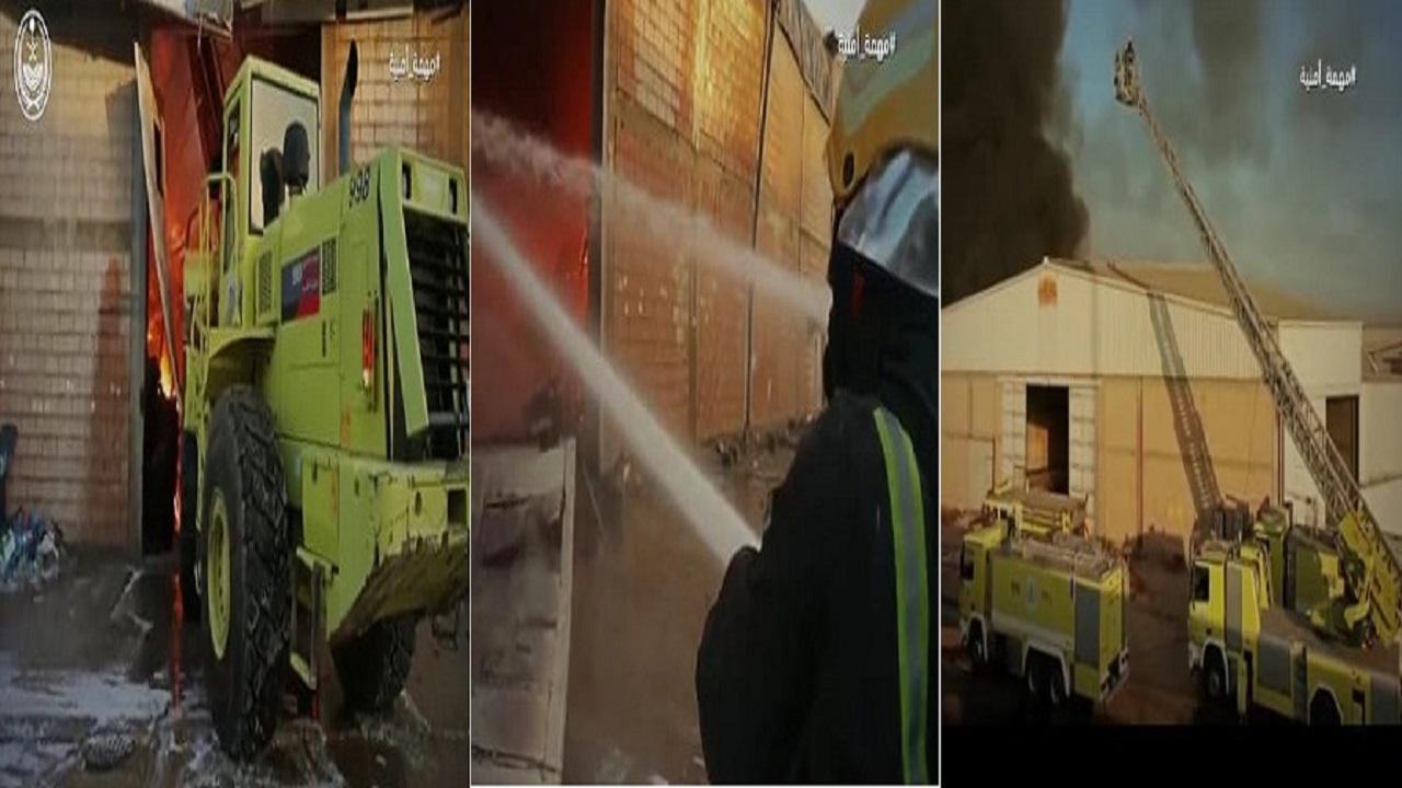 """بالفيديو.. """"الداخلية"""" تنشر مهمة أمنية لرجال الدفاع المدني لإخماد حريق ضخم بالرياض"""