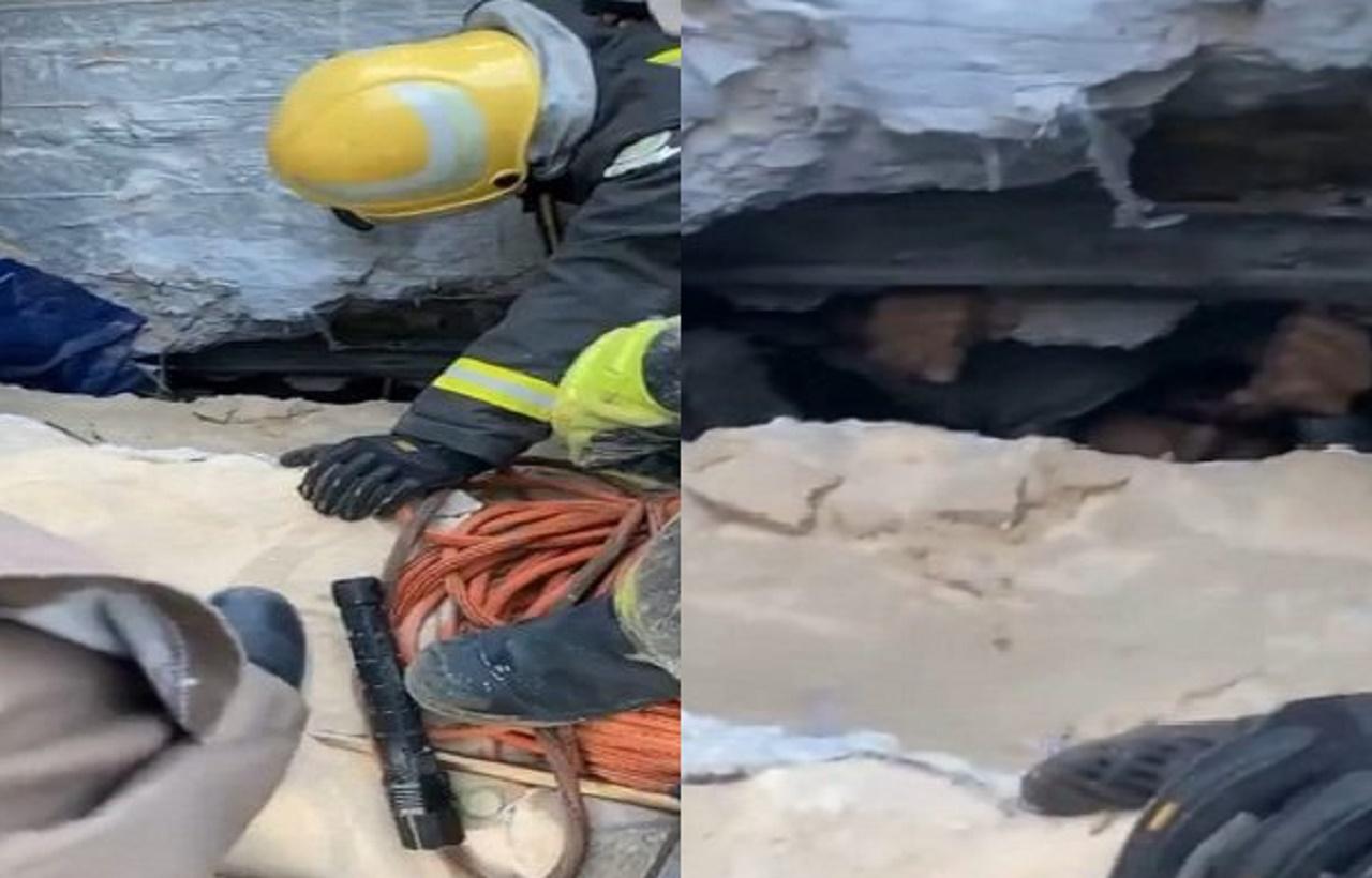 لحظة إخراج محتجز من تحت أنقاض انهيار موقف برج الخبر(فيديو)
