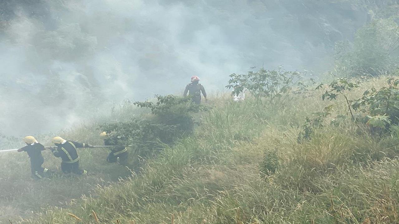 بالصور.. اندلاع حريق في جبل الثويعي بفيفاء