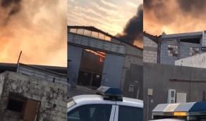 بالفيديو. اندلاع حريق هائل في مستودع بجدة