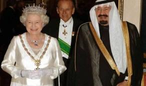 صورة تاريخية للملك عبدالله بن عبدالعزيز وملكة بريطانيا في الرياض