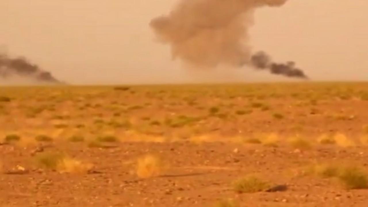 شاهد.. لحظة قصف التحالف لمركبات الحوثيين في الجوف