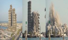 فيديو يوثق لحظة تفجير أبراج في أبو ظبي وهدمها في لمح البصر