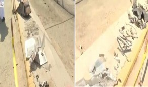 بالفيديو.. أجزاء مهشمة من فوهة الخزان المتضرر في محطة وقود جدة