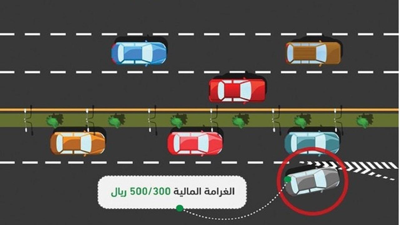 """""""المرور"""" يبدأ تطبيق مخالفة عدم الالتزام بحدود المسارات"""