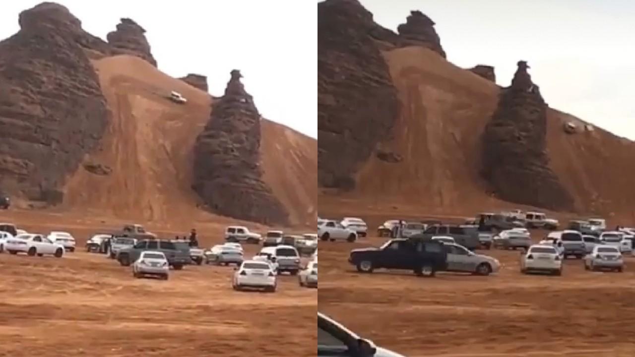 بالفيديو.. حادث تطعيس ينتهي بانقلاب مركبة في منطقة برية
