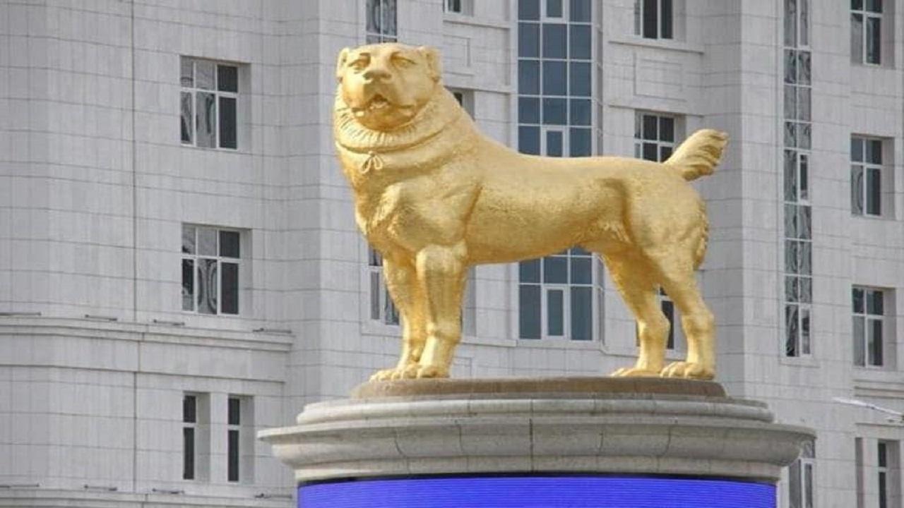 بالصور.. زعيم دولة آسيوية يُكرم كلبا بتمثال ذهبي عملاق