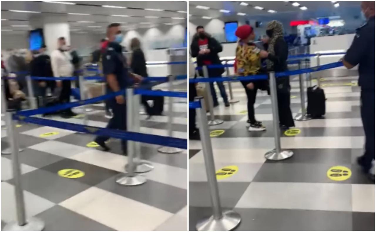 شاهد.. عراك نسائي مروع  في مطار بيروت والشرطة تشاهد في صمت