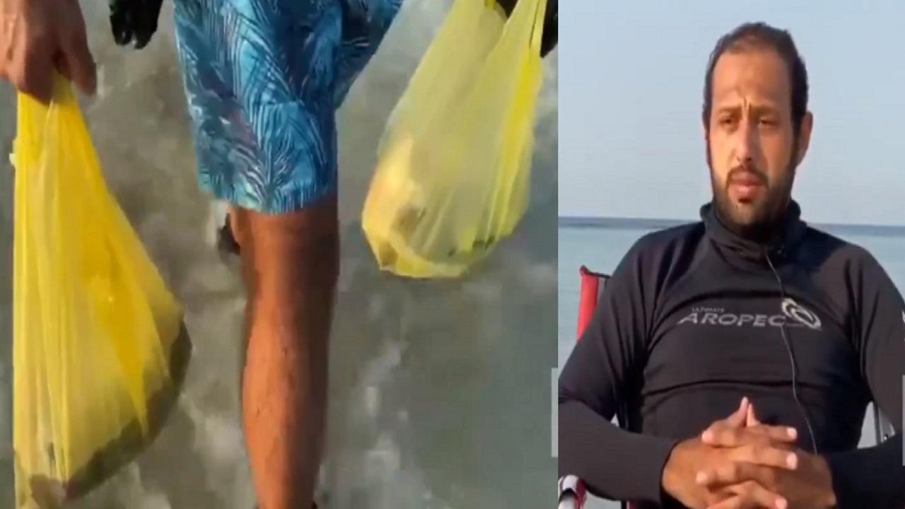 مدرب غوص ينظف أعماق البحر ويوجه رسالة لزوار الشواطئ