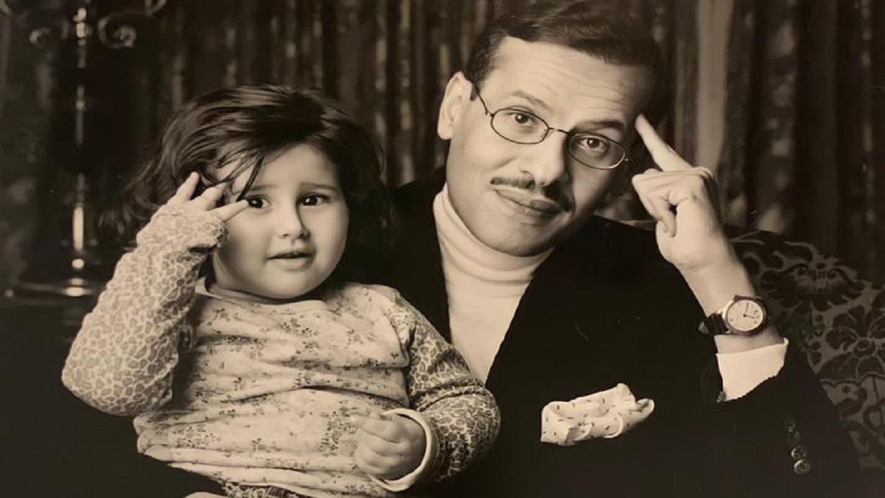 """صورة نادرة لـ """"الأمير عبدالعزيز بن سلمان وابنته سلطانة"""""""