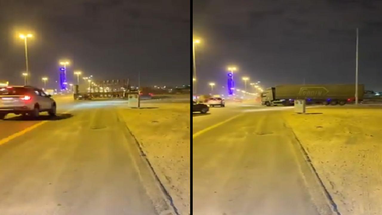 بالفيديو.. شاحنات تتجاوز كاميرات المراقبة على طريق الملك فهد