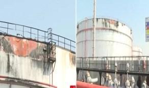 أول لقطات من منشأة توزيع وقود جدة التي استهدفها الحوثيون