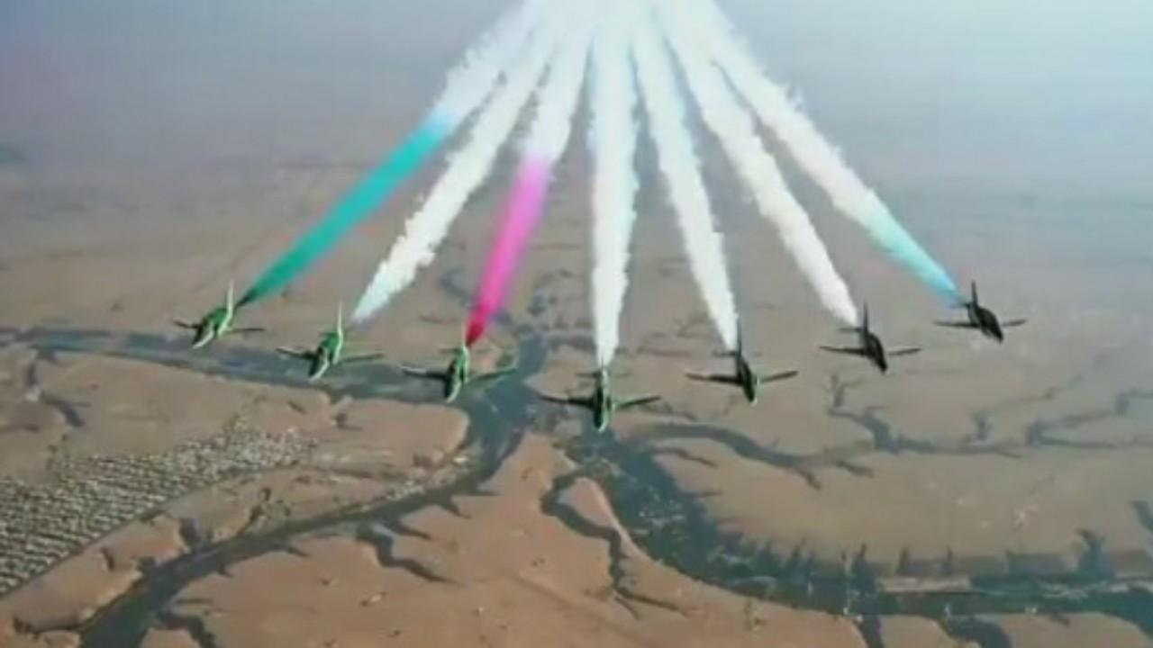 """عروض جوية تُزين سماء الرياض بمناسبة استضافة المملكة لقمة العشرين """"فيديو"""""""
