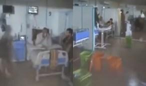 بالفيديو..میاه الأمطار تتدفق إلى مصابي كورونا في مستشفى إيراني