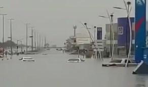 بالفيديو.. مياه السيول تداهم المركبات في النعيرية