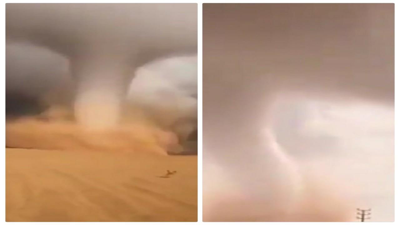 شاهد.. شاهقة مائية وإعصار قمعي يضربان شرق سكاكا