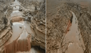 بالفيديو.. شلالات خلابة في شعيب مليح إثر هطول الأمطار