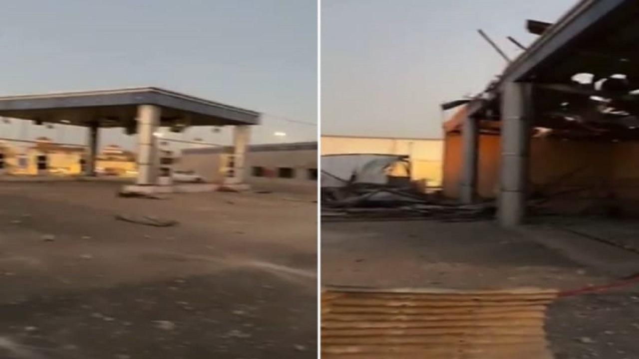 شاهد.. انفجار مروع لخزان بمحطة وقود في بريدة