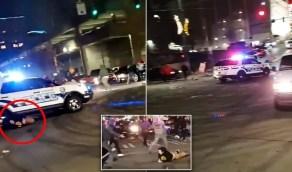 بالفيديو.. سيارة شرطة تدهس شخص في أحد السباقات الرياضية