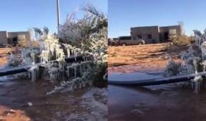 بالفيديو.. تجمد المياه في طبرجل اليوم إثر موجة البرد الشديدة