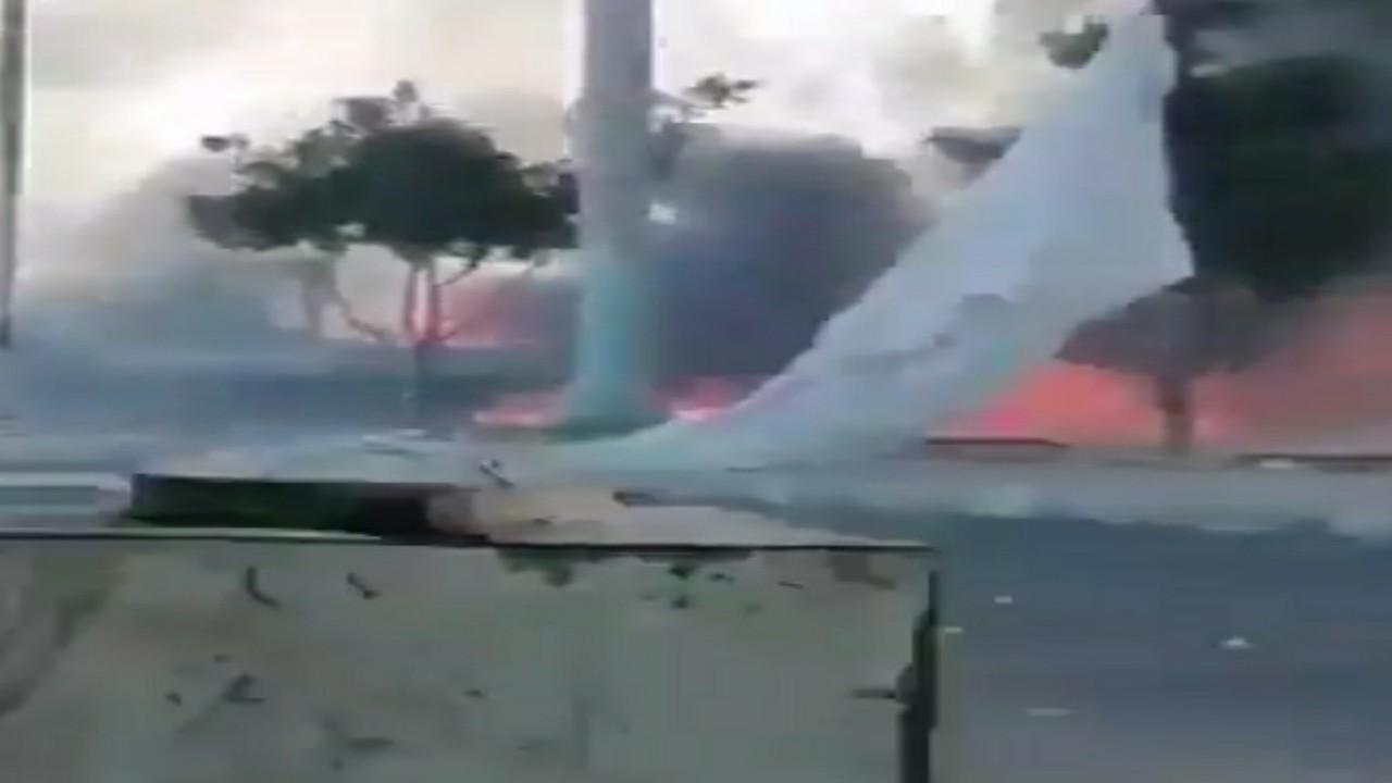 شاهد.. انفجارمحطة غاز في مدينة البيضاء الخاضعة لسيطرة الحوثيين