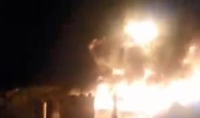 شاهد.. اندلاع حريق هائل في صهريج للنفط  بحمص السورية